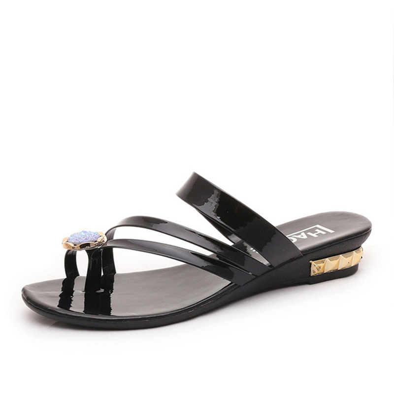 2018 Women's Slippers Beach Sandals Fashion Toes Diamond Slippers Summer Women's Flats Shoes Woman summer Shoes women sandals цена