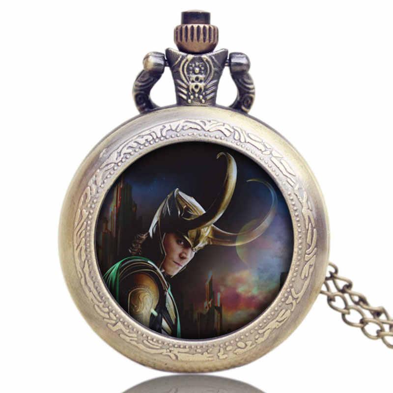 Nuevo diseño Steampunk Thor Loki reloj de bolsillo Marvel los Vengadores Tom Hiddleston colgante relojes de cuarzo con collar