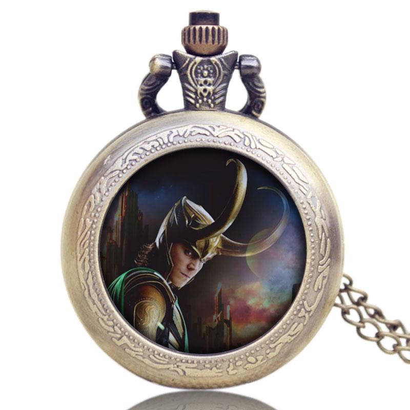 Vintage Steampunk Design Thor Loki Quartz Pocket Watch The Avengers Tom Hiddleston Pendant Quartz Watches With Necklace Gifts