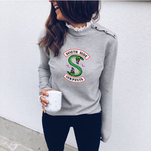 2019 new Slim Fit Riverdale South Side Serpent Sexy Lace Round Neck Shoulder Tops Long sleeves Hoodies Sweatshirts Women Clothes