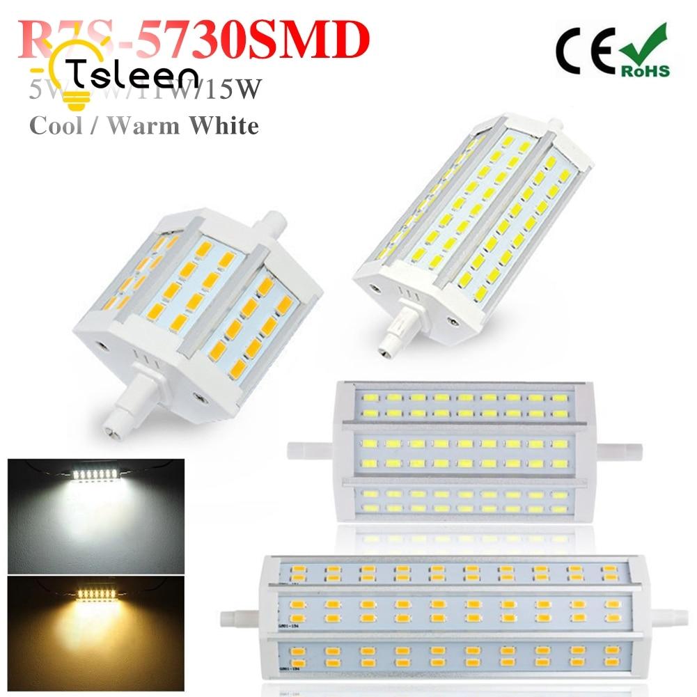78mm 118mm 135mm 189mm R7S LED Lamp 5W 9W 11W 15W SMD 5730 spotlight R7S Light Bulb 85-265V Replace Halogen Light spot light