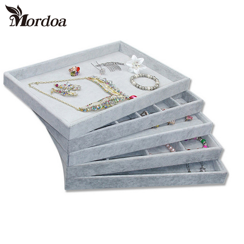 Hot Sale Gray Velvet Ring Bracelet Necklace Watch pendant wek-jin Stud earring Hand catenary Jewelry Tray Plate Showcase DisplayHot Sale Gray Velvet Ring Bracelet Necklace Watch pendant wek-jin Stud earring Hand catenary Jewelry Tray Plate Showcase Display