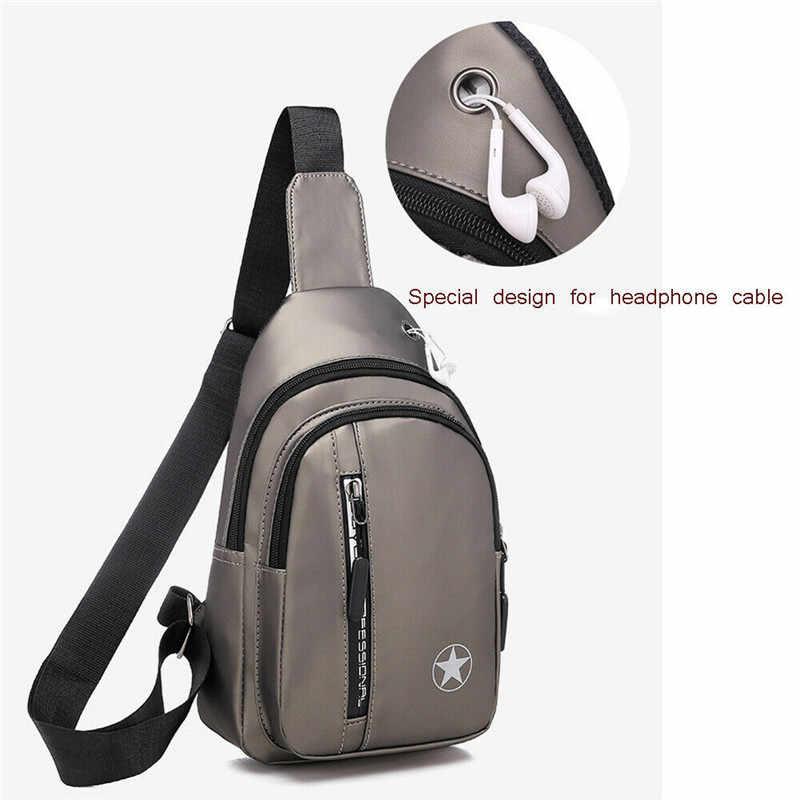 Caixa masculina sling pacote mochila bolsa de ombro impermeável carga usb pequeno dia pacote