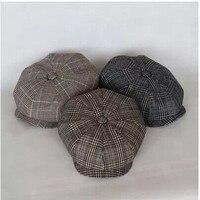 Free shipping Spring and autumn octagonal cap single worsted woolen cloth grid cap painter cap newsboy cap beret men and women