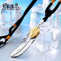 Beier exqusite pluma colgante de regalo collar colgante de acero inoxidable 316l joyería bp8-187