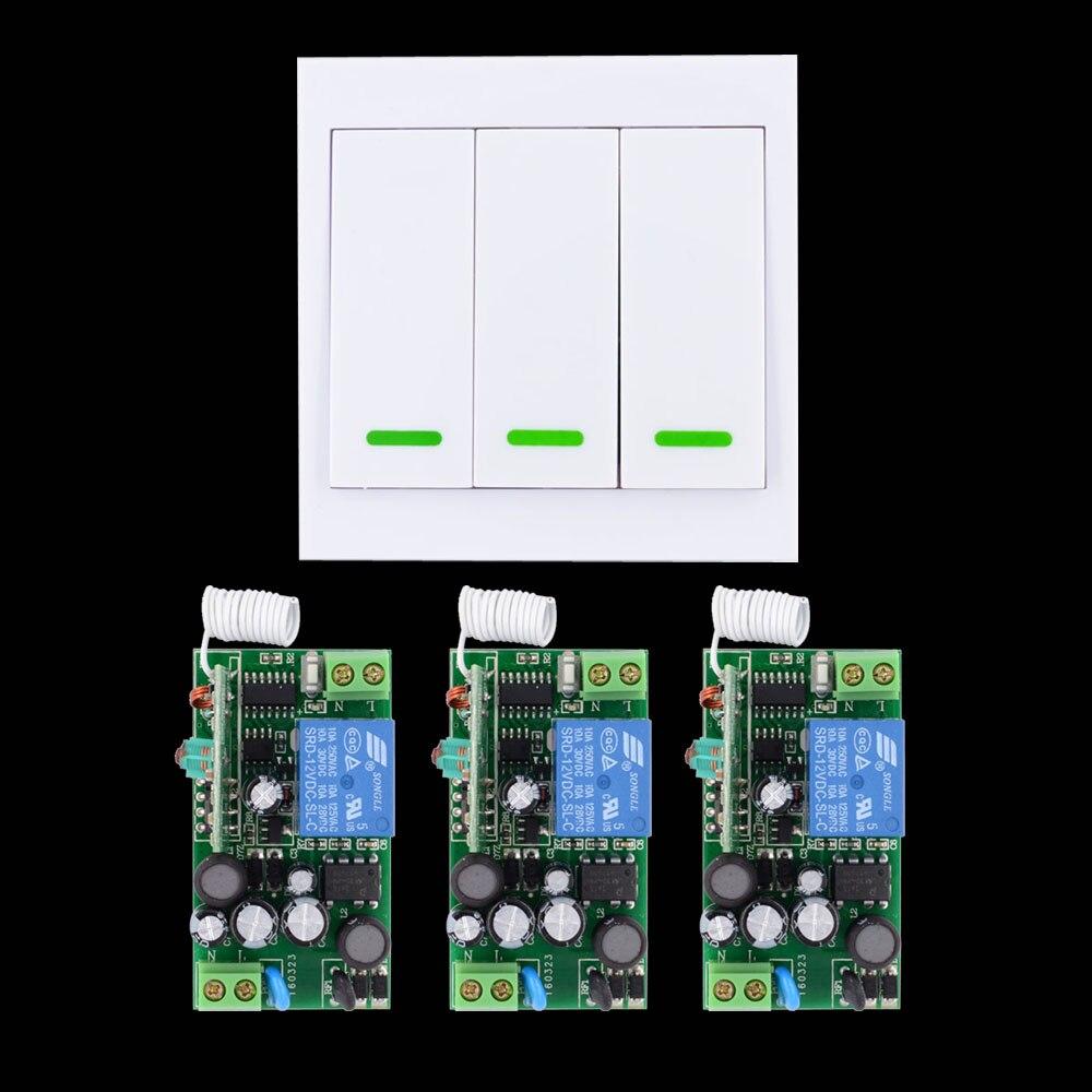AC 85V 110V 180V 220V 240V Wide Working Voltage Wireless Remote Light Switch + Wall Remote Control Panel Transmitter цена