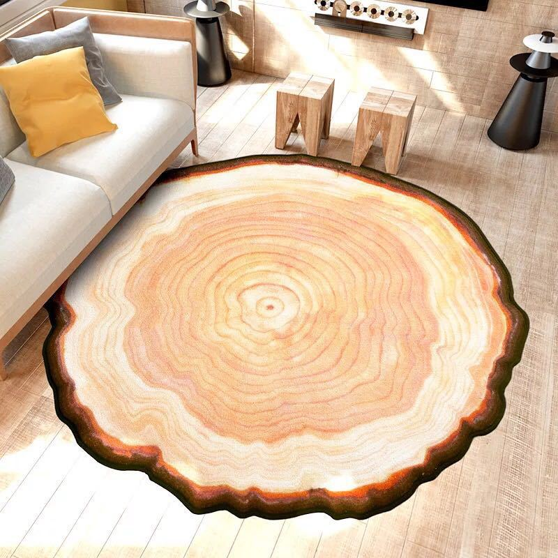 Tree Rings Carpet Mediterranean style Rug Blue Lake Living Room Anti-slip Rug 80cm/100cm/120cm Chair Mat for Kid Room Home decor