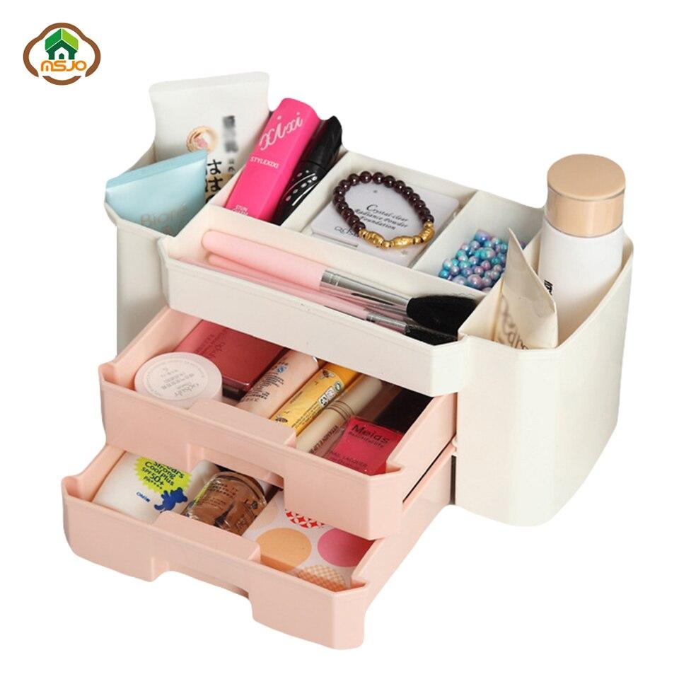 Msjo Makeup Organizer Box Plastic Makeup Organizer Cosmetics Skin Care Necklace Jewelry Case Sundry Double Storage Box makeup organizer box