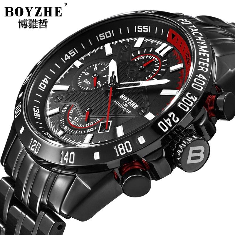 BOYZHE Sport Montre Mécanique Automatique Hommes Top Marque De Luxe Hommes Montres Militaire Étanche Calendrier reloj hombre Hommes Cadeaux