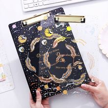 Creative Starry Sky A4 Clipboard Acrylic File Folder Writing Pad Document Holder School Office Supplies Stationery
