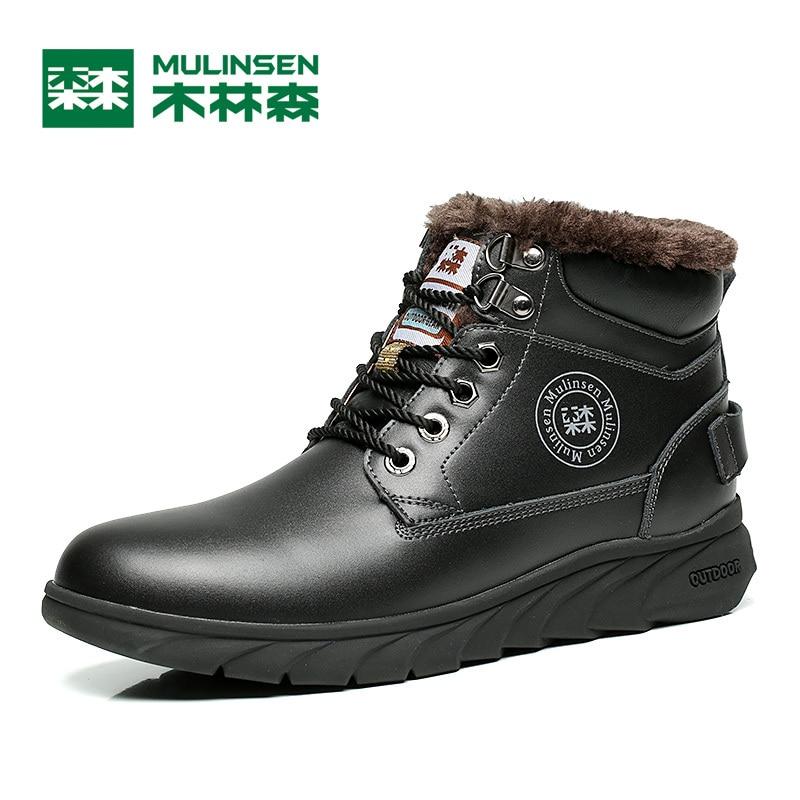 ФОТО Mulinsen Autumn&Winter Men's Sports Hiking Shoes Black/Blue/Brown Sport Shoes inside Plush Wear Non-slip Outdoor Sneaker 260108