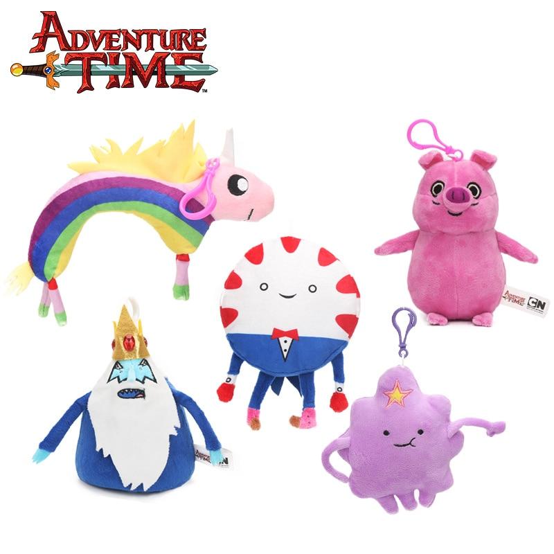 2018 10-19cm Adventure Time Plush Keychain Toys Jake Ice King Lady Rainicorn Peppermint  ...