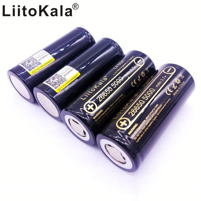 HK 26650-50a lii-50a LiitoKala 3.7 V 26650 5000 mah DE Alta capacitating idade li-ion Recarregavel para Lanterna led