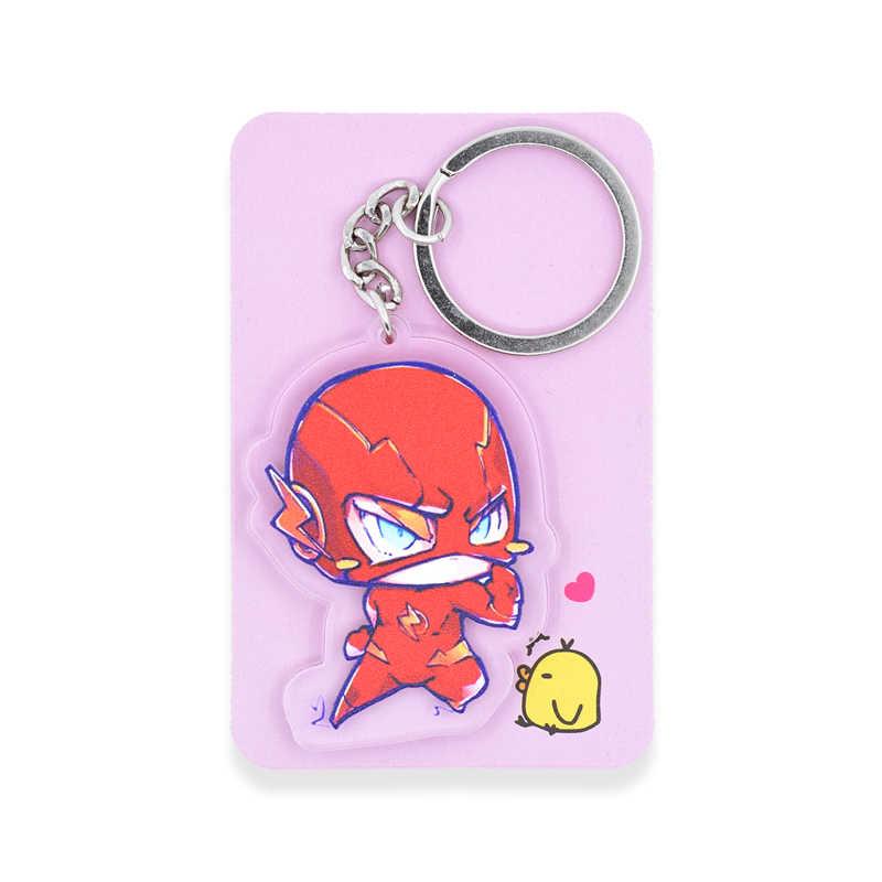 O flash chaveiro bonito dupla face batman superman chaveiro personalizar anime chaveiro PCB77-84