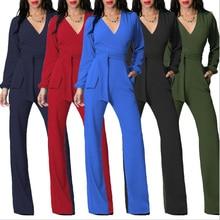 8ccd1315979 Fashion Nova Black Long Sleeve Jumpsuit Romper Women 2019 Sexy V Neck Slim  Palazzo Pant Elegant