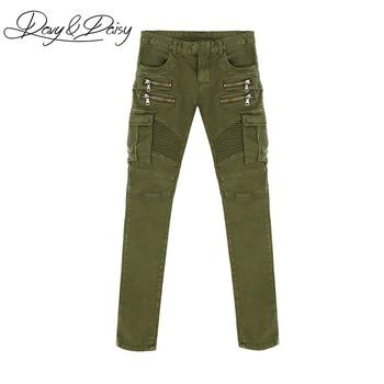 DAVYDAISY Kualitas Tinggi Pria Jeans Padat Hijau Army Hitam Lurus Dicuci Kasual Merek Denim Celana Ritsleting Pria Skinny Jeans DT-070