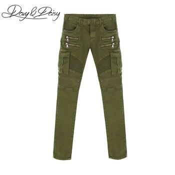 DAVYDAISY wysokiej jakości męskie Jeans stałe zieleń wojskowa czarne proste myte na co dzień marki Denim zamek do spodni męskie dżinsy w rozmiarze skinny DT-070
