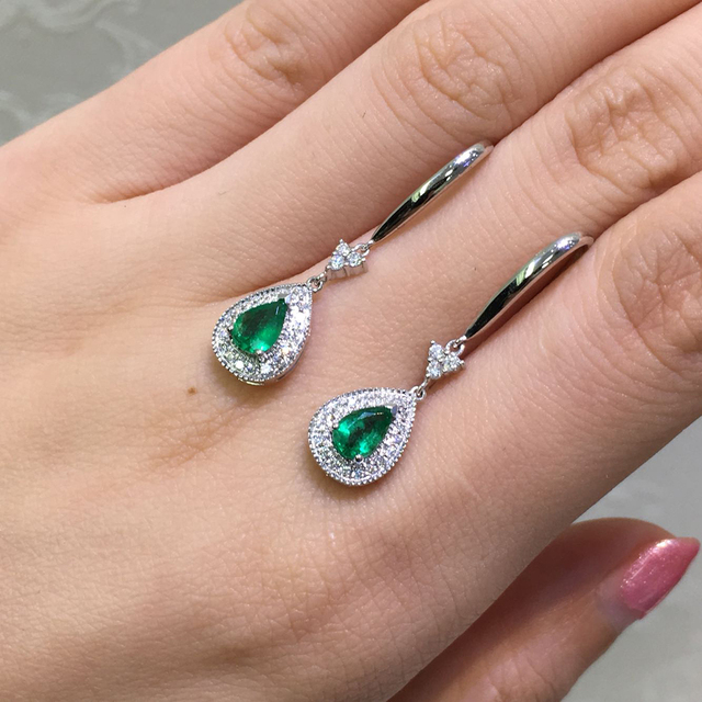"""AEAW Solid 14K White Gold AAA Lab Created Colombia Emerald 0.5ct Each""""CCE"""" Earring Halo Moissanite for Women"""