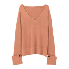 JUPE VENDUE Womens V Neck Long Sleeve Loose Wool Sweater Knitwear Pullover
