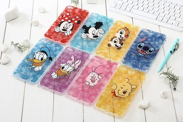 Shell For Minnie Mickey Cartoon Donald Duck Stitch Piglet Daisy Pooh Bear Characters Phone Case For iPhone 6 6S 7 Plus Coque