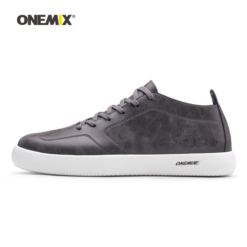 ONEMIX Man Walking Shoes For Men Microfiber Leather Sneakers Nice Road Trends Skateboarding Shoe Gray Tennis