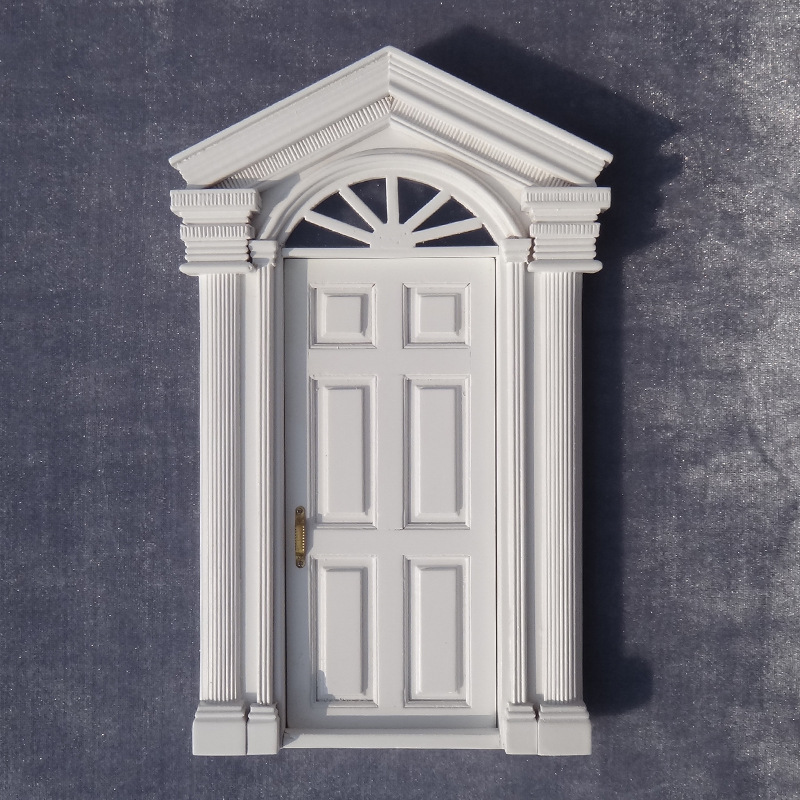 1:12 DIY DOLLHOUSE door Solar gate spire Doll House Cottage double column 6 door white