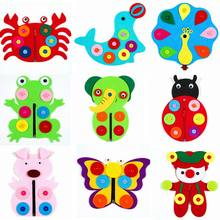 Non-Woven Twisted Button Butterfly Zipper Flower Game Cognition Animal Puzzle Montessori Puzzles Educational Toys Gifts(China)