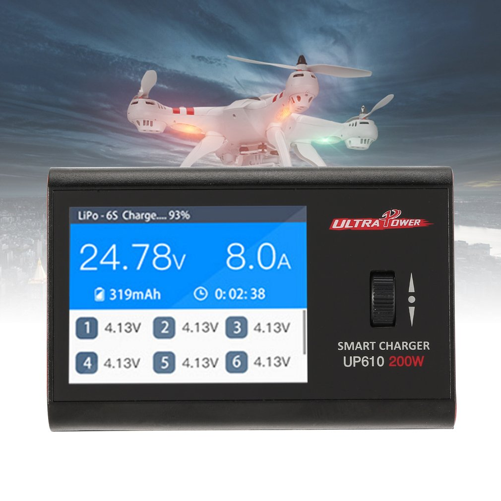 Ultra Power UP610 200W Pocket Smart Charger for RC AIRPLANE Quadcopter Car 1-6S Lipo Battery 1-16S NiCd/ NiMH Battery Charger HO цена и фото