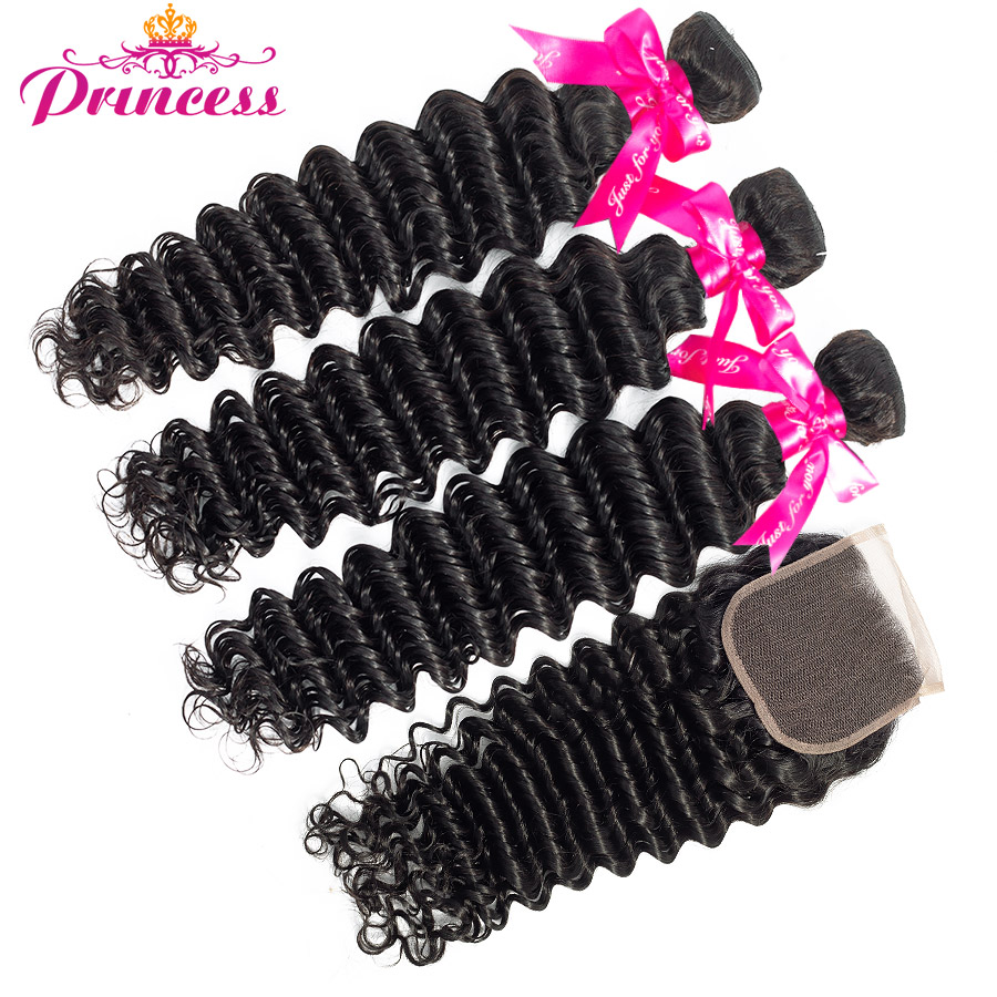 HTB1vVy.XiHrK1Rjy0Flq6AsaFXak Princess Hair Deep Wave Bundles With Closure Double Weft Human Hair Brazilian Hair Weave 3 Bundles With Closure RemyMedium Ratio