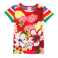 Nova ropa de los niños al por menor 2015 nueva llegada de la venta caliente diseño impreso grandes flores de verano de manga corta t camisa para 2-6y niña