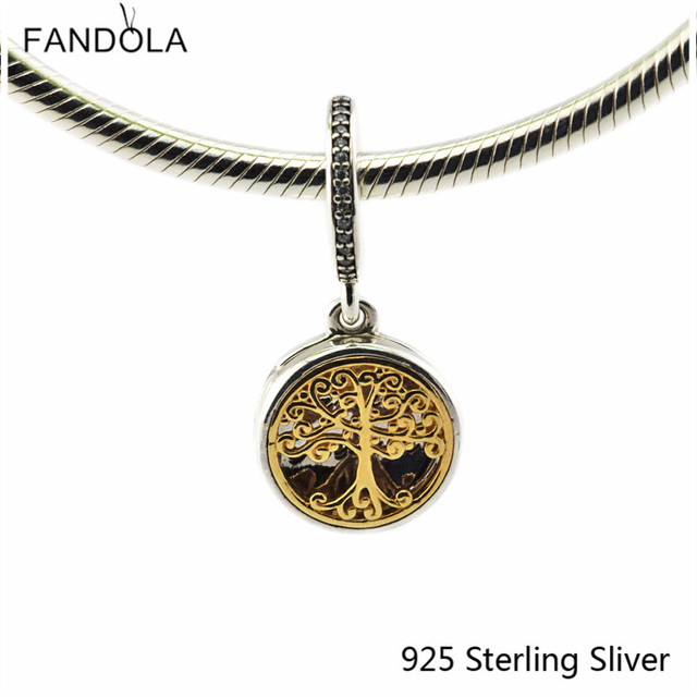 DIY Beads Fits Pandora Bracelet 925 Sterling Silver Jewelry Gold Family Roots, Clear CZ Original Charms Wholesale