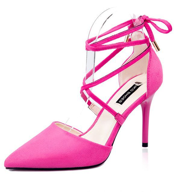 Sexy european style brand new woman thin high heel pumps shoes WY055 flock ankle straps woman's party wedding point toe pump