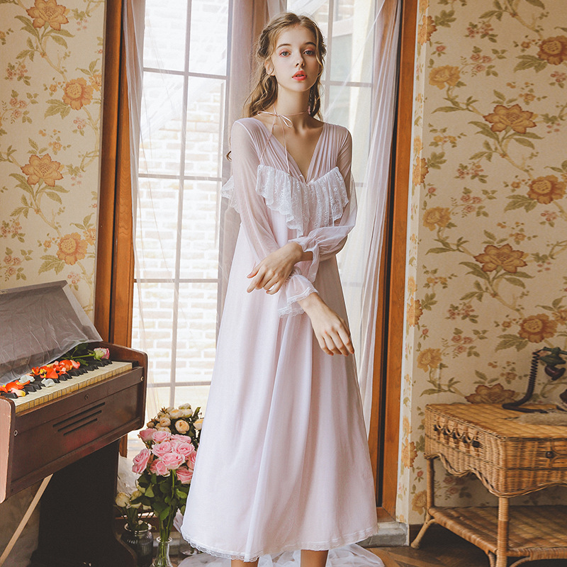 2019 Autumn New Sexy Double V neck Lace Princess Night Dress Sleepwear Long Nightgowns Lantern Sleeve Soft Tulle Home Wear Hot