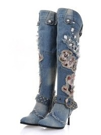 2017 Spring/Winter Women Shoes Patchwork Casual Pointed Toe Buckle Strap Zipper Knee-High Boots Women Thin High Heels Free Ship hot selling 2015 women denim boots pointed toe tassel patchwork knee high boots crystal thin high heels winter motorcycle boots