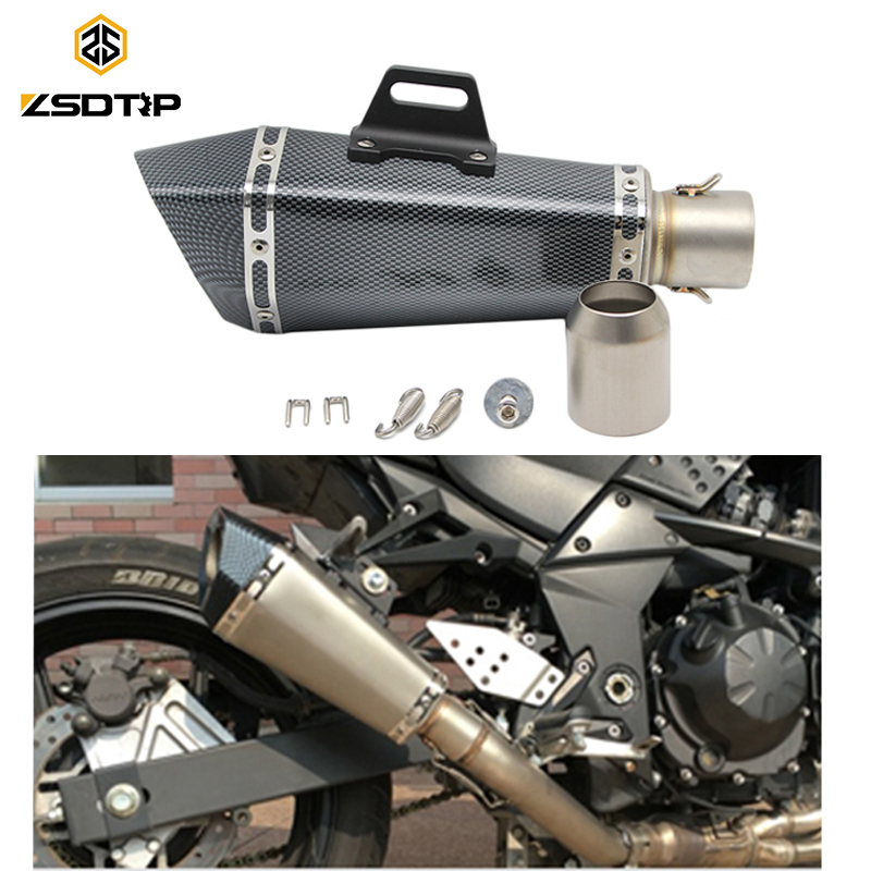 ZSDTRP Universal 51MM Motorcycle Exhaust Muffler For KTM CB400 FZ1 FZ6 Escape Moto Exhaust Pipe Slip