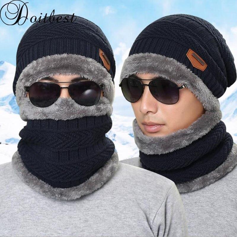 2017 knitted hat Teens Beanies Knitted Mens Winter Hat Caps Skullies Bonnet For Men Women Beanie Casual Warm Baggy Bouncy