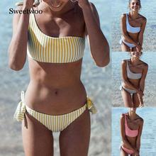 Biquini 2019 New 2pcs Women Summer Swimwear Swimsuit Bikini Set Push-up Padded Stripe Beachwear Bathing Suit