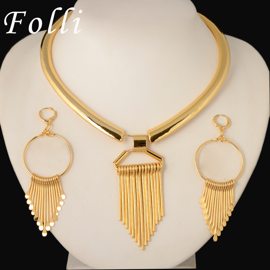 Fashion Runway Show Floating Earring Tie Necklace Set High Fashion Brand Jewelry Set Italy 750 Real