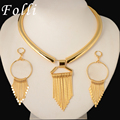 Fashion Runway Show Floating  Earring Tie Necklace Set High Fashion Brand Jewelry Set Italy 750 Real Gold Plated For Women Girl