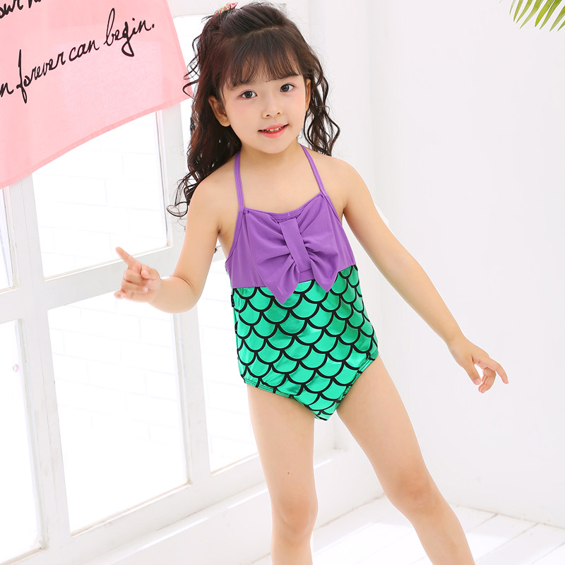 Kids Baby Girls Bow Cosplay Mermaid One Piece Suit Swimsuit Swimwear Bikini Set Beachwear Baby Girl Clothes Bodysuit Newest 0-4T