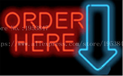 Large Order Here with Arrow Neon sign Real Glass Tube Bulbs Light Bar Beer Club Decoration Custom Signs Signboard 17x14
