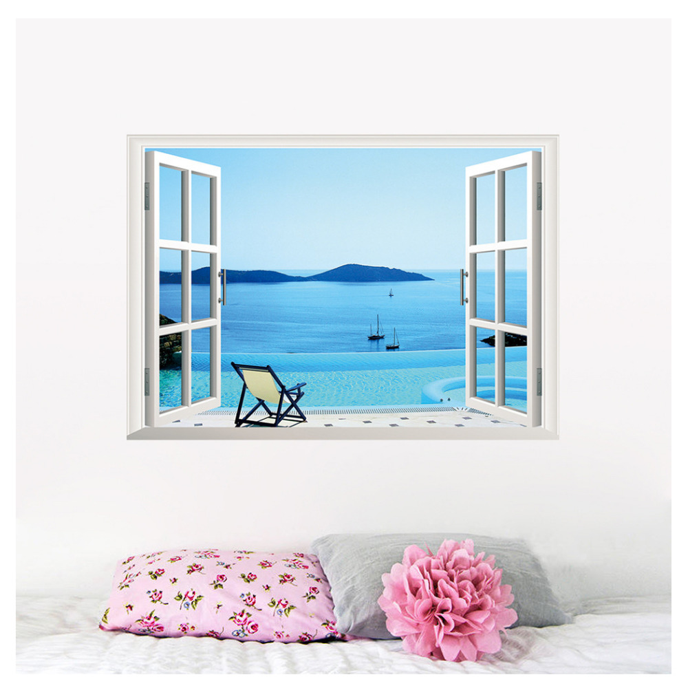 Kuke 3D View Fake Window Seascape Wall Sticker Office Removable PVC Wall  Decals Home Art Waterscape Decor Wallpaper In Wall Stickers From Home U0026  Garden On ...