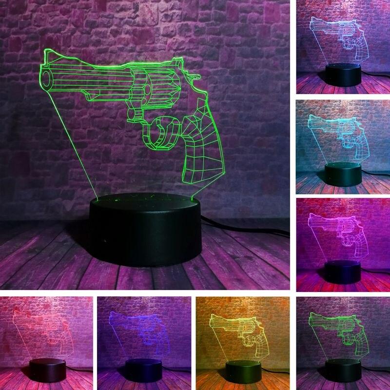 Fortnited револьвер модель 3d иллюзия светодиодные лампы 7 цветов