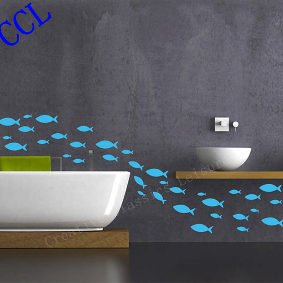Free shipping 35 fish lot fish vinyl wall decal bathroom for Bathroom vinyl decor