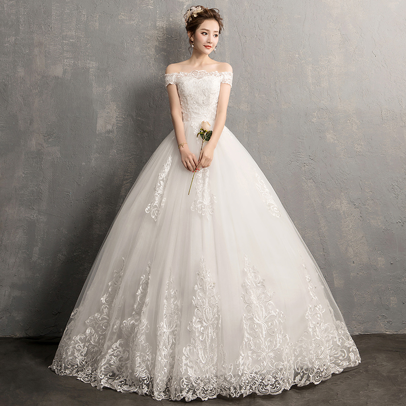 EZKUNTZA New Simple Sexy Boat Neck Wedding Dress Bride Ball Gown Flower Lace Up Floor Length Wedding Dress Robe De Mariee L