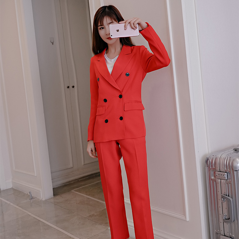 2019 Women's Trouser Suit High Quality Double Breasted Red Blazer Female Casual Pants Suit Ladies Suit Red Black Yellow