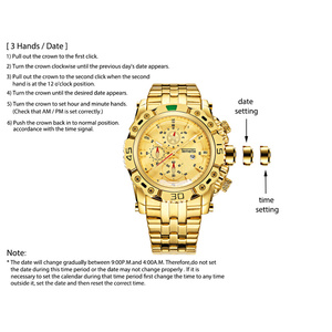 Image 5 - TEMEITE Golden Watch for Male Calendar Stainless Steel Quartz Wristwatch Mens Fashion Big Watches Top Brand Luxury Clock