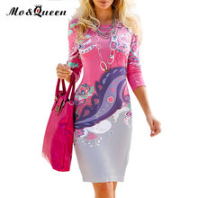 MOQUEEN Vintage Floral Dress Women 2017 Fashion Army Green Pink Elegant Printing Autumn Dress Long Sleeve Sheath Ladies Dresses