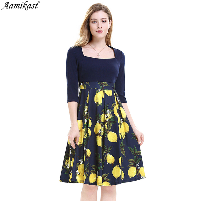319d0b6a15d6a Aamikast Autumn Women Dress Elegant Vintage Print Square Collar Casual  Business Party Fit and Flare Swing Skater A Line