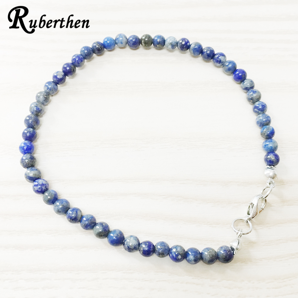 Ruberthen Lapis Lazuli Anklet 4 mm Natural Stone Bracelet Mini Gem Stone Energy JewelryRuberthen Lapis Lazuli Anklet 4 mm Natural Stone Bracelet Mini Gem Stone Energy Jewelry
